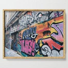 Side Walk Graffiti Street Art Serving Tray