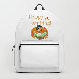 Happy Stuffing Funny Turkey Eating Pie For Thanksgiving Backpack