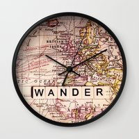 wander Wall Clocks featuring wander by Sylvia Cook Photography