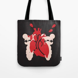 hiding behind giant heart Tote Bag
