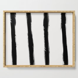 Medium Brush Strokes Vertical Black on Off White Serving Tray