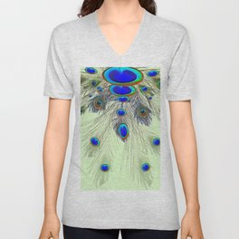DECORATIVE BLUE GREEN PEACOCK FEATHER & JEWELS #3 PATTERN Unisex V-Neck