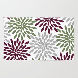 Floral Petals in Sage Green, Wine Red and Grey Rug