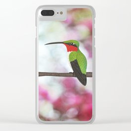 ruby throated hummingbird - male on pink bokeh Clear iPhone Case