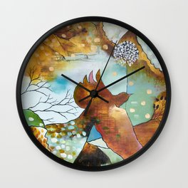 """Two Hearts"" Original Painting by Flora Bowley Wall Clock"