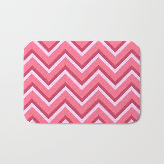 Pink Zig Zag Pattern Bath Mat