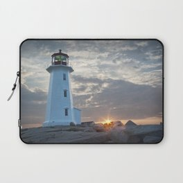 Sunrise at Peggys Cove Lighthouse in Nova Scotia Laptop Sleeve