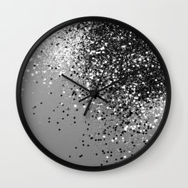 Sparkling Silver Gray Lady Glitter #1 #shiny #decor #art #society6 Wall Clock