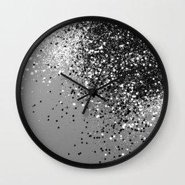Sparkling Silver Gray Lady Glitter #1 #shiny #decor #art #society6 Wall Clock