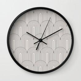 Art Deco Arch Pattern IX - Black & White II Wall Clock