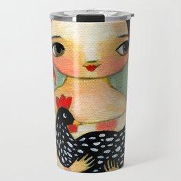 Babusha Girl with Speckled Chicken Travel Mug