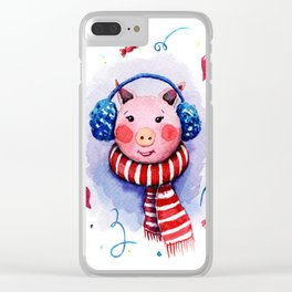 Lovely pig girl Clear iPhone Case