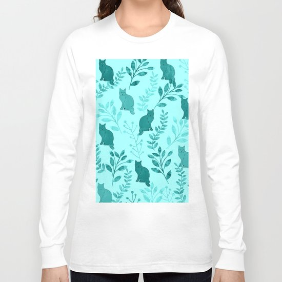Watercolor Floral and Cat VIII Long Sleeve T-shirt
