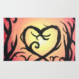 heart tree on red background Rug