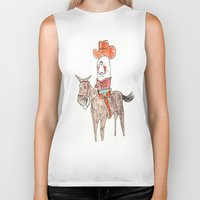 manatee Biker Tanks featuring Manatee Cowboy by withapencilinhand