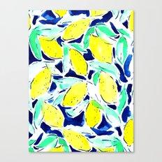 Bold Lemons Blue Canvas Print