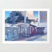 Tokyo Bus Depot Art Print