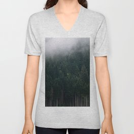 Mystic Pines - A Forest in the Fog Unisex V-Neck