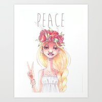 hippie Art Prints featuring Hippie by Meldoodles