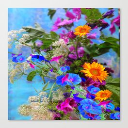 BLUE FLOWERS QUEEN ANN'S LACE BLUE STILL LIFE Canvas Print
