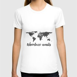 Printable Adventure Awaits World Map Poster, Navy Travel Quote Print, JPG File, Instant Download T-shirt