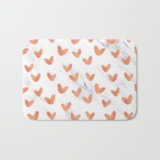 Hearts Rose Gold Marble Bath Mat