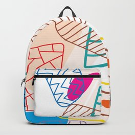 Drawing illustration abstract pen marks.doodle background with semicircle pattern.No.15 Backpack