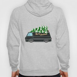 Vintage green car with Christmas tree. Christmas picture. Green truck vector illustration. Hoody