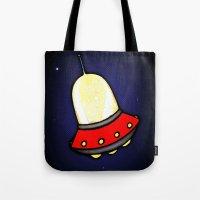 spaceship Tote Bags featuring Spaceship by Caroline Blicq