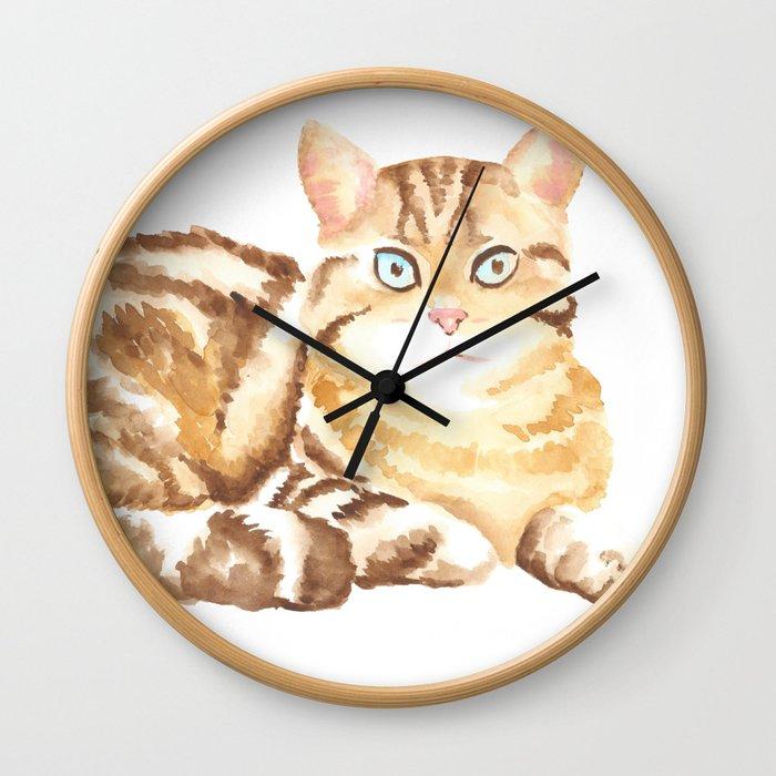 cat watercolor Wall Clock