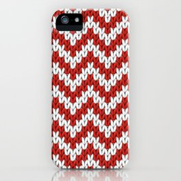 Red Christmas knitted chevron, large scale iPhone Case