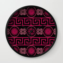 Ornate Greek Bands in Pink Wall Clock