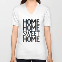 home sweet home V-neck T-shirts featuring HOME by Eolia
