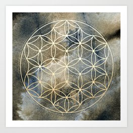 Sacred Geometry Ombre Watercolor Art Print