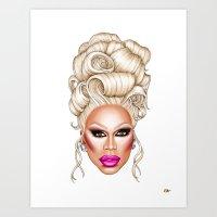 rupaul Art Prints featuring RuPaul Blonde  by dannydax