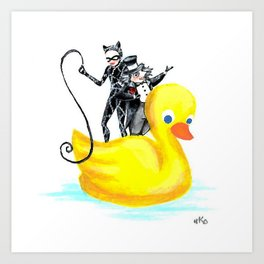 Catwoman and Penguin Man in a Yellow Duck Art Print