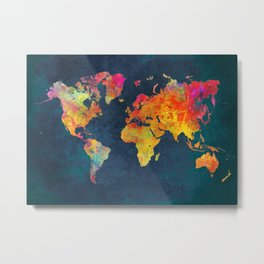 World Map blue #world #map Metal Print