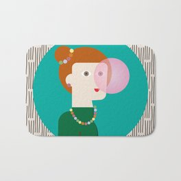 The girl and the bubble gum Bath Mat
