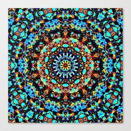 Sparkling turquise orange mandala Canvas Print