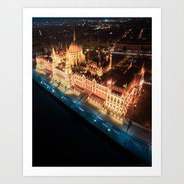 Budapest's Parliament Building, Hungary Art Print