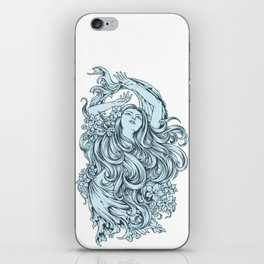 Beautiful Girl with BLUE ROSE iPhone Skin