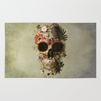 skull Area & Throw Rugs featuring Garden Skull Light by Ali GULEC