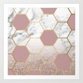 Cherished aspirations rose gold marble Art Print