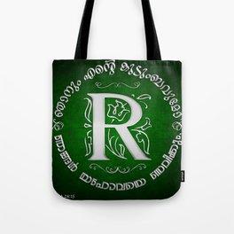 Joshua 24:15 - (Silver on Green) Monogram R Tote Bag