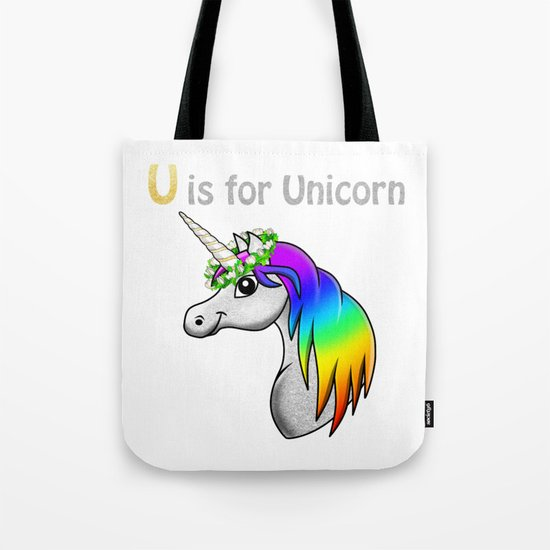 U is for Unicorn Tote Bag