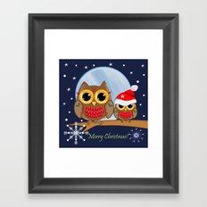 Cute Christmas Owls & Text Framed Art Print