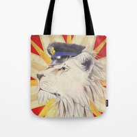 police Tote Bags featuring Police Lion by WhiteRabbit