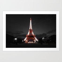Paris Eiffel Tower Pink Night Art Print