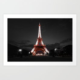 Paris Eiffel Tower Pink Night Art Print