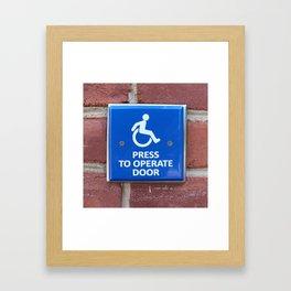 Press To Operate Door Framed Art Print